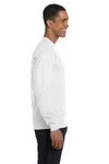 Gildan G840 Mens DryBlend Moisture Wicking Long Sleeve Crewneck T-Shirt White Side