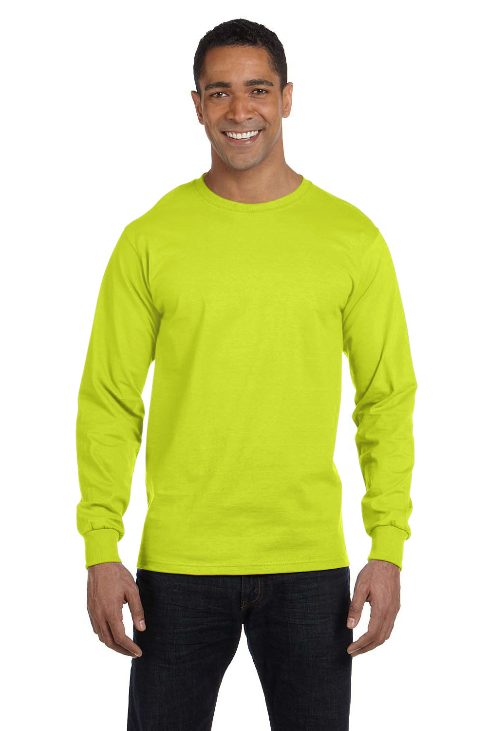 Gildan G840 Mens DryBlend Moisture Wicking Long Sleeve Crewneck T-Shirt Safety Green Front