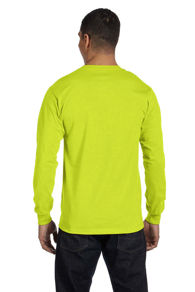 Gildan G840 Mens DryBlend Moisture Wicking Long Sleeve Crewneck T-Shirt Safety Green Back