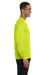 Gildan G840 Mens DryBlend Moisture Wicking Long Sleeve Crewneck T-Shirt Safety Green Side