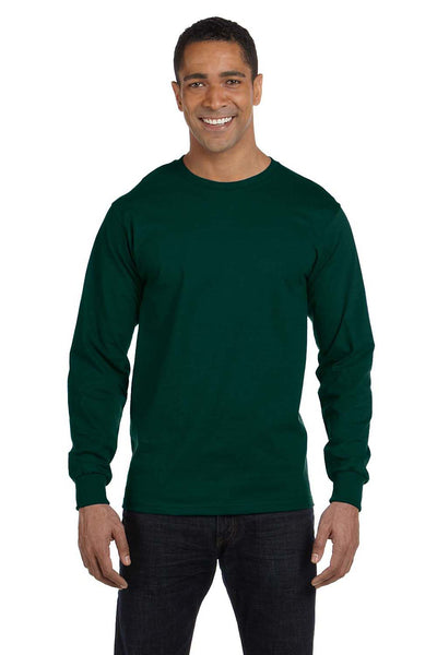 Gildan G840 Mens DryBlend Moisture Wicking Long Sleeve Crewneck T-Shirt Forest Green Front