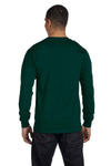 Gildan G840 Mens DryBlend Moisture Wicking Long Sleeve Crewneck T-Shirt Forest Green Back