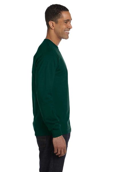 Gildan G840 Mens DryBlend Moisture Wicking Long Sleeve Crewneck T-Shirt Forest Green Side
