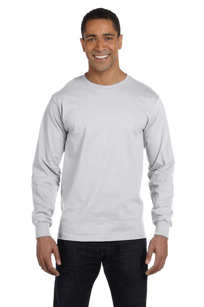 Gildan G840 Mens DryBlend Moisture Wicking Long Sleeve Crewneck T-Shirt Ash Grey Front