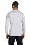Gildan G840 Mens DryBlend Moisture Wicking Long Sleeve Crewneck T-Shirt Ash Grey Back