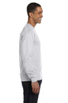 Gildan G840 Mens DryBlend Moisture Wicking Long Sleeve Crewneck T-Shirt Ash Grey Side