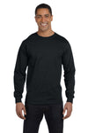 Gildan G840 Mens DryBlend Moisture Wicking Long Sleeve Crewneck T-Shirt Black Front