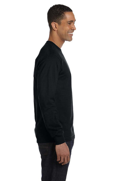 Gildan G840 Mens DryBlend Moisture Wicking Long Sleeve Crewneck T-Shirt Black Side