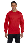 Gildan G840 Mens DryBlend Moisture Wicking Long Sleeve Crewneck T-Shirt Red Front