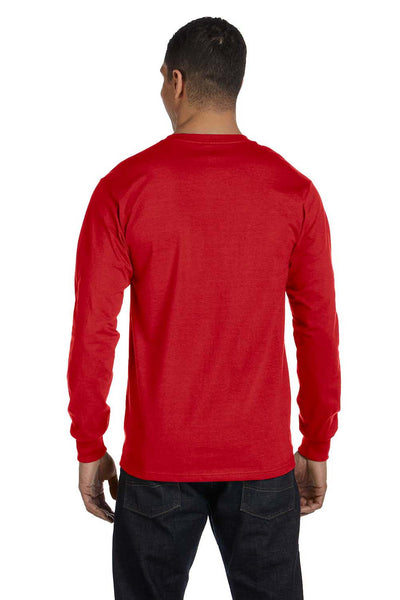 Gildan G840 Mens DryBlend Moisture Wicking Long Sleeve Crewneck T-Shirt Red Back