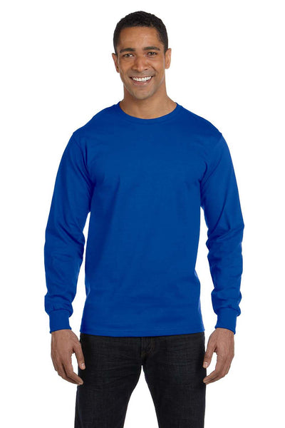Gildan G840 Mens DryBlend Moisture Wicking Long Sleeve Crewneck T-Shirt Royal Blue Front