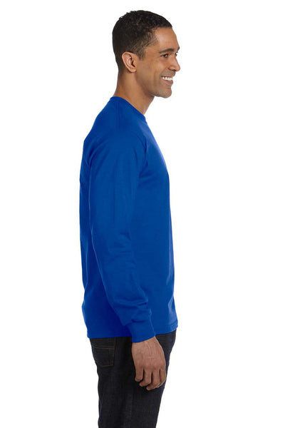Gildan G840 Mens DryBlend Moisture Wicking Long Sleeve Crewneck T-Shirt Royal Blue Side
