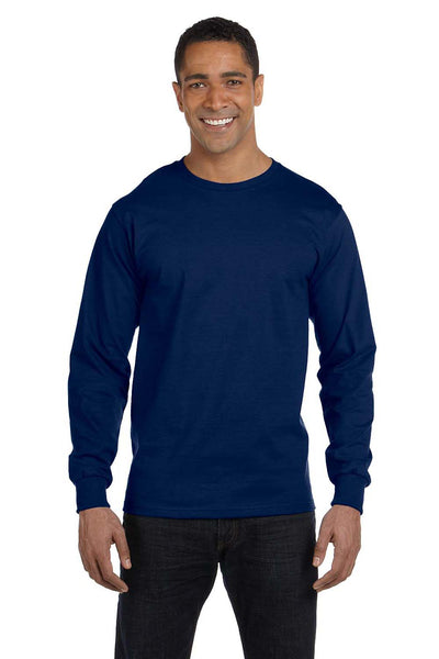 Gildan G840 Mens DryBlend Moisture Wicking Long Sleeve Crewneck T-Shirt Navy Blue Front