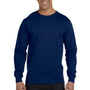 Gildan Mens DryBlend Moisture Wicking Long Sleeve Crewneck T-Shirt - Navy Blue