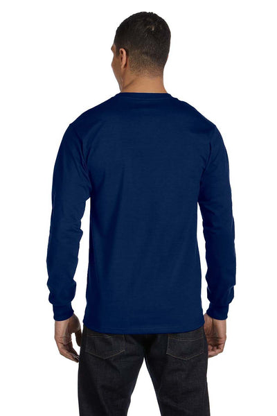 Gildan G840 Mens DryBlend Moisture Wicking Long Sleeve Crewneck T-Shirt Navy Blue Back