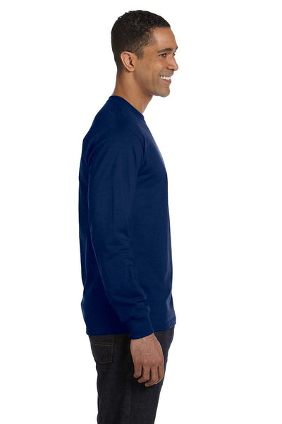 Gildan G840 Mens DryBlend Moisture Wicking Long Sleeve Crewneck T-Shirt Navy Blue Side