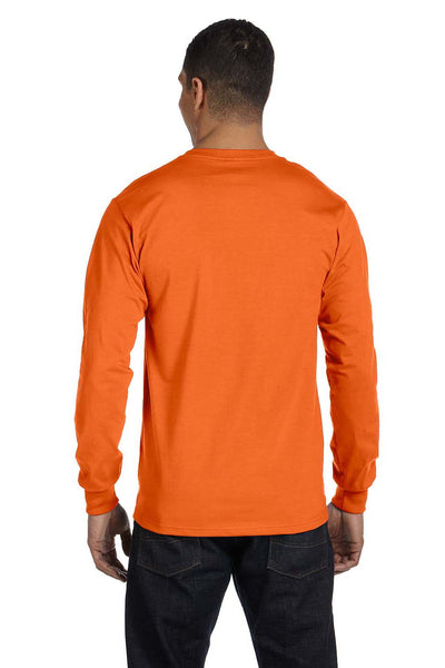 Gildan G840 Mens DryBlend Moisture Wicking Long Sleeve Crewneck T-Shirt Orange Back