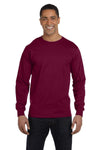 Gildan G840 Mens DryBlend Moisture Wicking Long Sleeve Crewneck T-Shirt Maroon Front