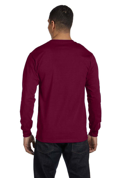 Gildan G840 Mens DryBlend Moisture Wicking Long Sleeve Crewneck T-Shirt Maroon Back