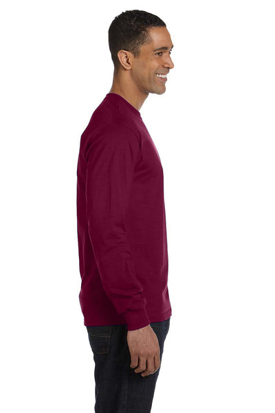 Gildan G840 Mens DryBlend Moisture Wicking Long Sleeve Crewneck T-Shirt Maroon Side
