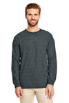 Gildan G840 Mens DryBlend Moisture Wicking Long Sleeve Crewneck T-Shirt Heather Dark Grey Front