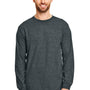 Gildan Mens DryBlend Moisture Wicking Long Sleeve Crewneck T-Shirt - Heather Dark Grey