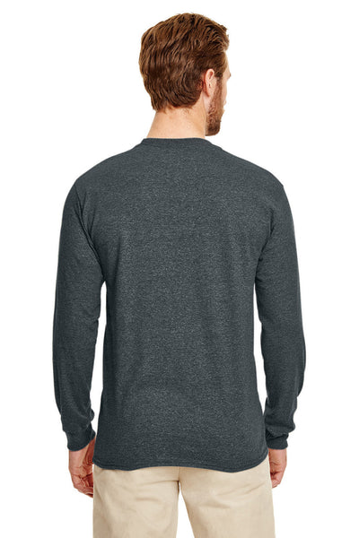 Gildan G840 Mens DryBlend Moisture Wicking Long Sleeve Crewneck T-Shirt Heather Dark Grey Back
