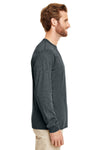 Gildan G840 Mens DryBlend Moisture Wicking Long Sleeve Crewneck T-Shirt Heather Dark Grey Side