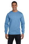 Gildan G840 Mens DryBlend Moisture Wicking Long Sleeve Crewneck T-Shirt Carolina Blue Front