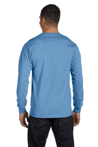 Gildan G840 Mens DryBlend Moisture Wicking Long Sleeve Crewneck T-Shirt Carolina Blue Back