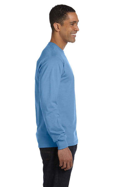 Gildan G840 Mens DryBlend Moisture Wicking Long Sleeve Crewneck T-Shirt Carolina Blue Side