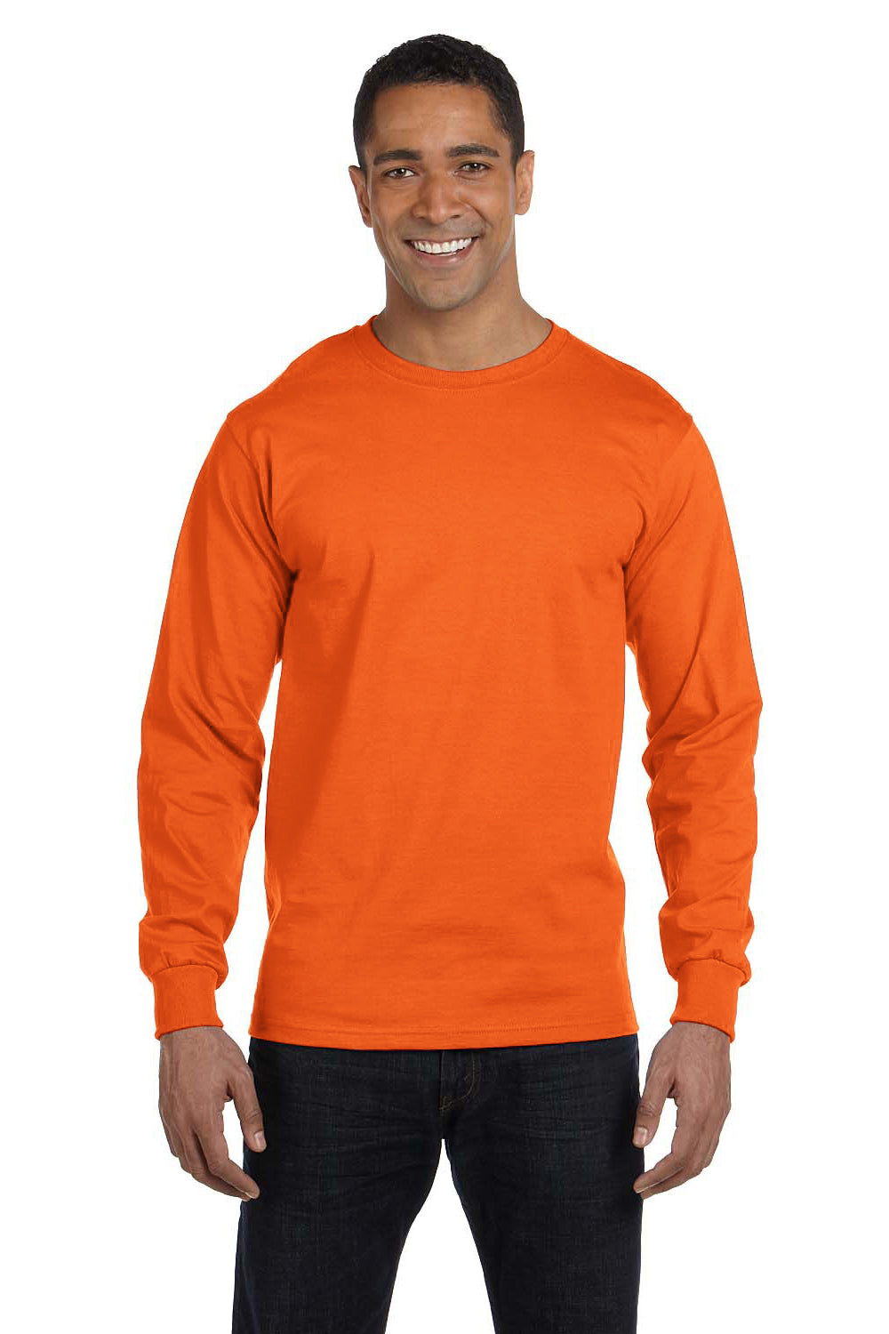 Gildan G840 Mens DryBlend Moisture Wicking Long Sleeve Crewneck T-Shirt Safety Orange Front