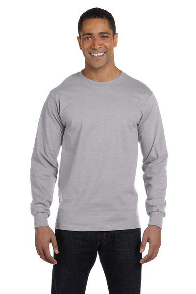 Gildan G840 Mens DryBlend Moisture Wicking Long Sleeve Crewneck T-Shirt Sport Grey Front