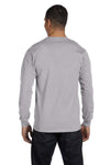 Gildan G840 Mens DryBlend Moisture Wicking Long Sleeve Crewneck T-Shirt Sport Grey Back