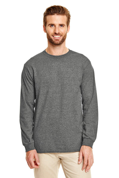 Gildan G840 Mens DryBlend Moisture Wicking Long Sleeve Crewneck T-Shirt Heather Graphite Grey Front