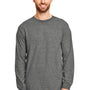 Gildan Mens DryBlend Moisture Wicking Long Sleeve Crewneck T-Shirt - Heather Graphite Grey