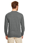 Gildan G840 Mens DryBlend Moisture Wicking Long Sleeve Crewneck T-Shirt Heather Graphite Grey Back
