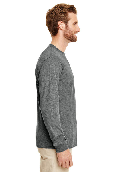 Gildan G840 Mens DryBlend Moisture Wicking Long Sleeve Crewneck T-Shirt Heather Graphite Grey Side