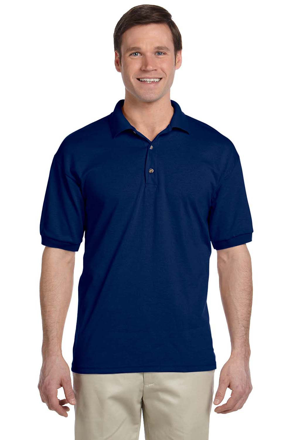 Gildan G880 Mens DryBlend Moisture Wicking Short Sleeve Polo Shirt Navy Blue Front