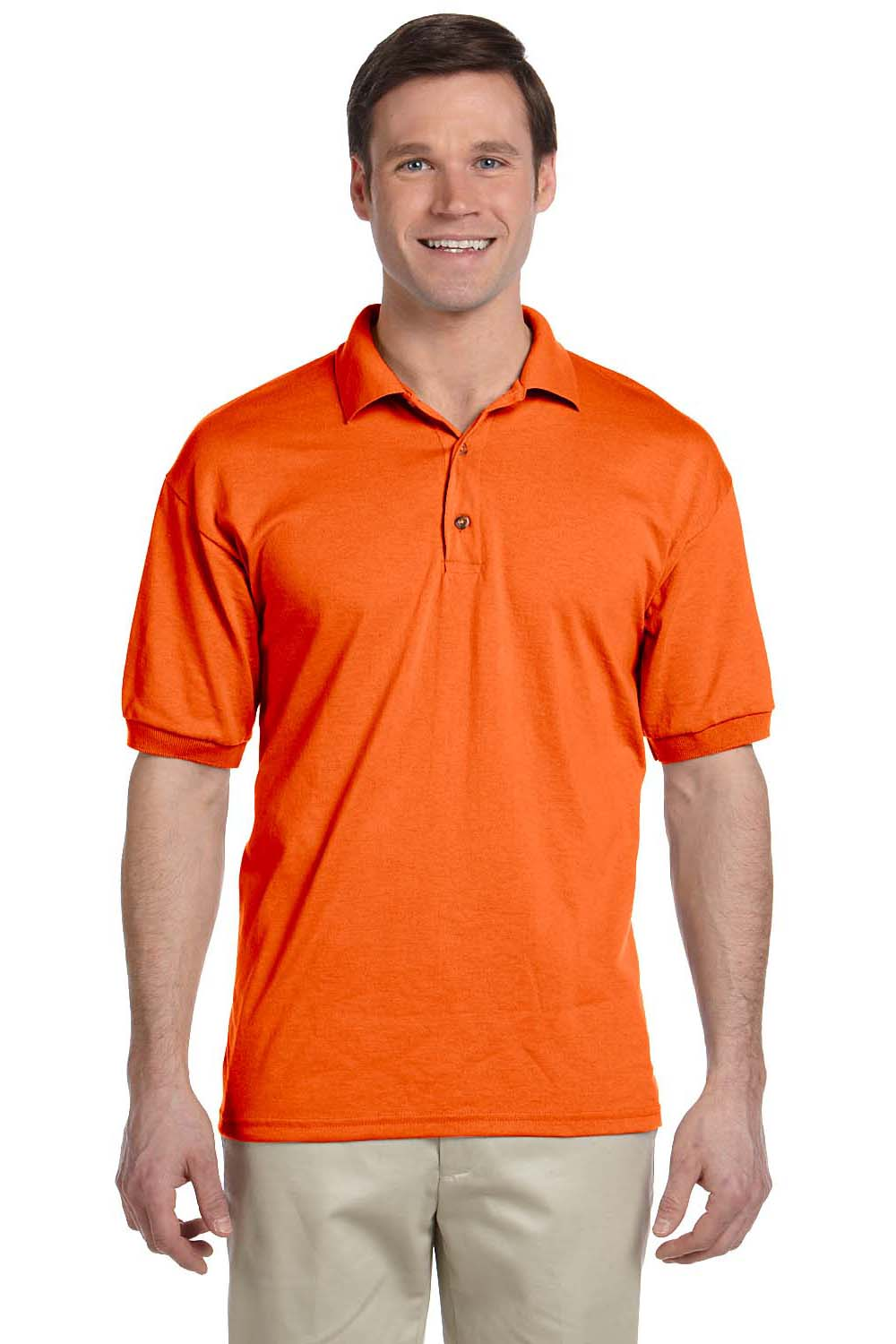 Gildan G880 Mens DryBlend Moisture Wicking Short Sleeve Polo Shirt Orange Front