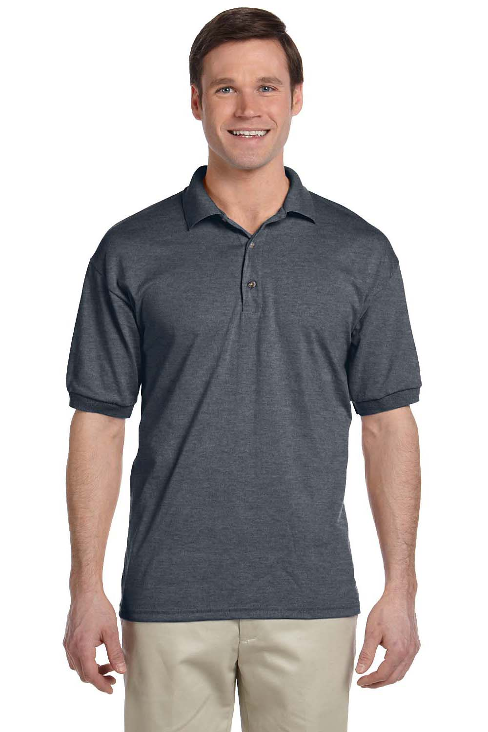 Gildan G880 Mens DryBlend Moisture Wicking Short Sleeve Polo Shirt Heather Dark Grey Front