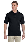 Gildan G890 Mens DryBlend Moisture Wicking Short Sleeve Polo Shirt w/ Pocket Black Front