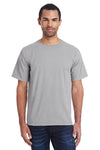 ComfortWash By Hanes GDH100 Mens Short Sleeve Crewneck T-Shirt Concrete Grey Front