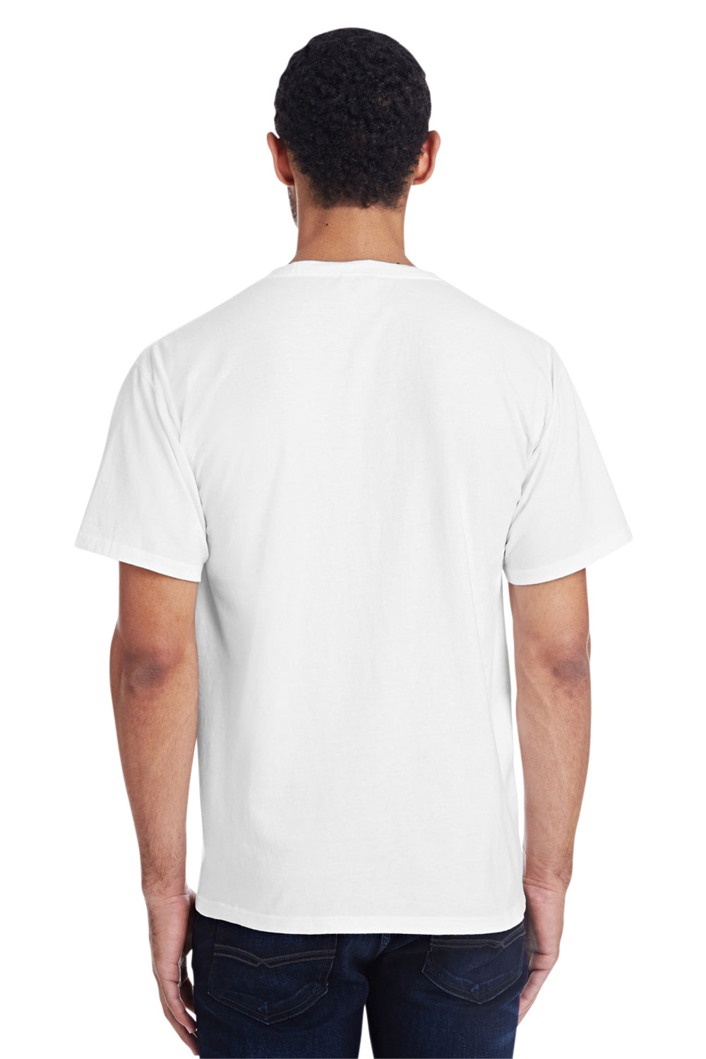 ComfortWash By Hanes GDH150 Mens Short Sleeve Crewneck T-Shirt w/ Pocket White Back