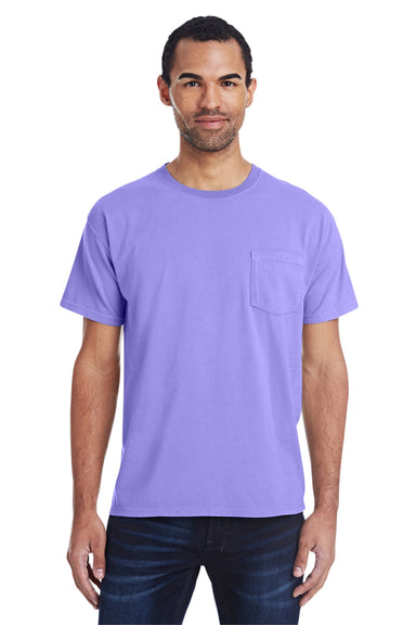 ComfortWash by Hanes GDH150 Short Sleeve Crewneck T-Shirt w/ Pocket Lavender Purple Front