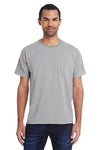 ComfortWash By Hanes GDH150 Mens Short Sleeve Crewneck T-Shirt w/ Pocket Concrete Grey Front