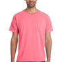 ComfortWash By Hanes Mens Short Sleeve Crewneck T-Shirt w/ Pocket - Coral Craze Pink