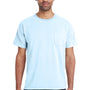 ComfortWash By Hanes Mens Short Sleeve Crewneck T-Shirt w/ Pocket - Soothing Blue