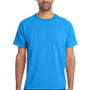ComfortWash By Hanes Mens Short Sleeve Crewneck T-Shirt w/ Pocket - Summer Sky Blue