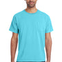 ComfortWash by Hanes Mens Short Sleeve Crewneck T-Shirt w/ Pocket - Freshwater Blue